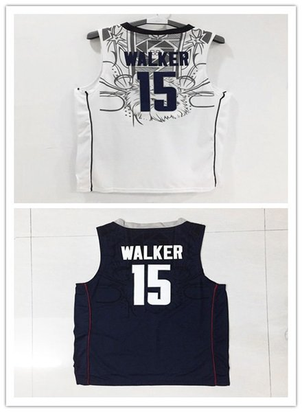 ec751d0f20bb ... New Uconn Huskies College 15 Kemba Walker Blue White Uconn Huskies  Jersey Embroidery Logos Free ...