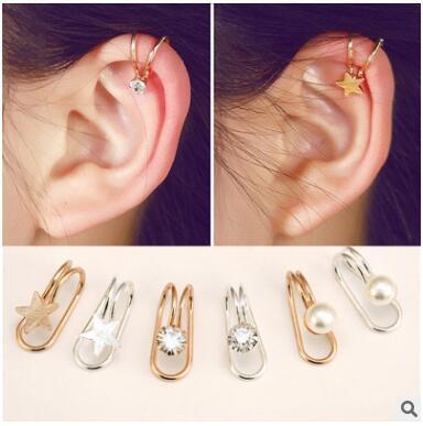 Cheapest no hole simple star moon flowers love pearl shaped ear clip-on earrings screw back many styles can choose