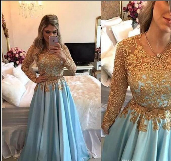 Charming Light Blue Gold Lace Evening Pageant Dresses Long Sleeve beaded belt middle east country Prom dresses Party Gown Dress