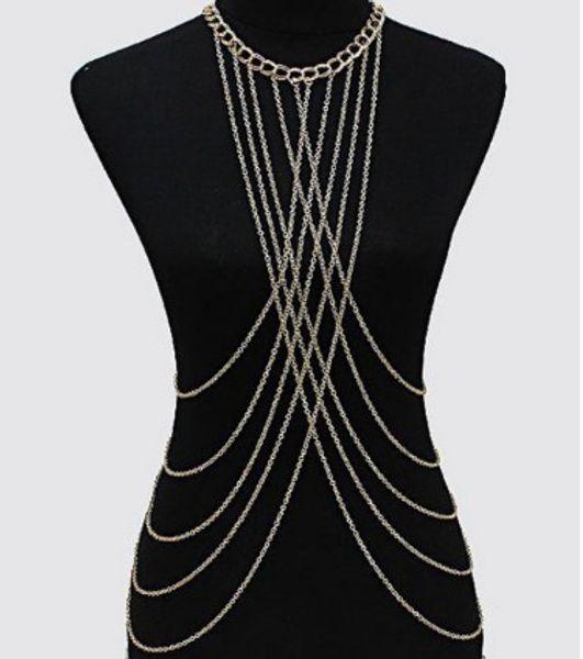 c22943e068 2019 Fashion Womens Bralette Chain Gold  Silver Tone Necklaces ...