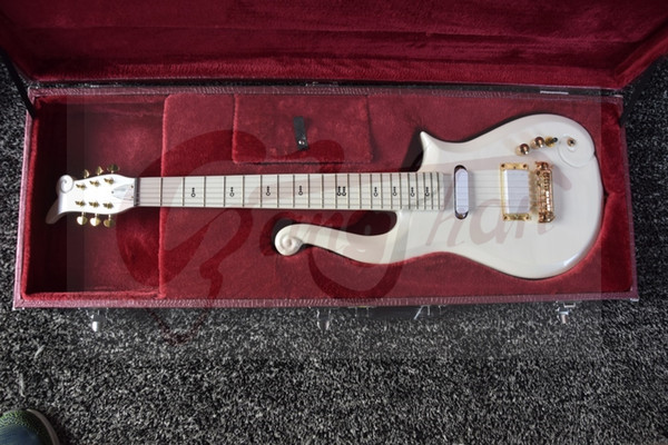 Rare Schecter Diamond Series Prince White Cloud Electric Guitar Gold Hardware Deluxe Purple Croco Leather Hardcase Red Inner Top Selling