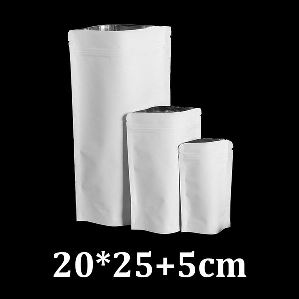 20x25cm resealable zipper stand up white kraft paper coffee cashew nuts packaging bags food material
