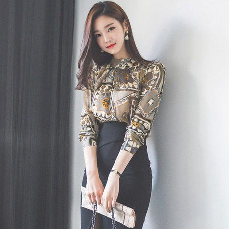 European floral long sleeve shirt ladies vintage print blouse silk imitation korean printing shirts stand collar