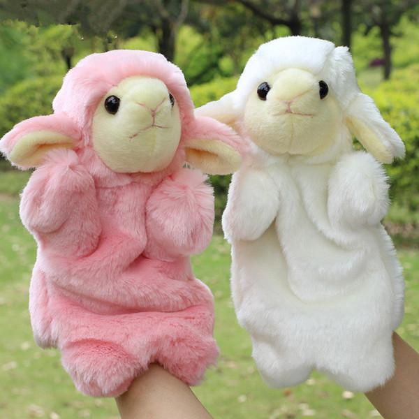 top popular Super Kawaii Lamb Sheep Hand Puppets Plush Toys Family Kids Educational Dolls Gift 2021