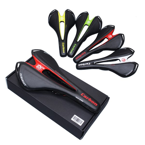 -Lightweight 3K full carbon fiber road bicycle saddle mountain MTB bike genuine leather cushion saddles for men and women riding race parts