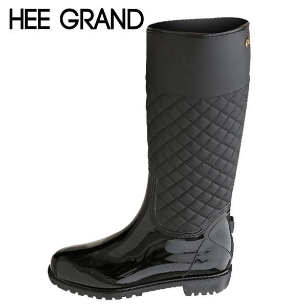 Al por mayor-HEE GRAND Botas de lluvia Zapatos de plataforma de goma Mujer 2016 Hasta la rodilla Botas de mujer Creepers casuales Slip On Flats Zapatos de mujer XWD4579