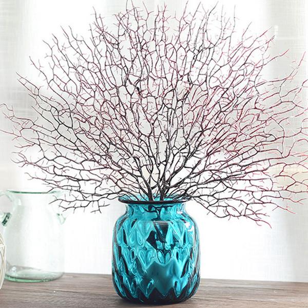 45cm arbre artificiel branche décorations de mariage de corail blanc Accueil artificiel ventilateur en forme de branche séchée en plastique