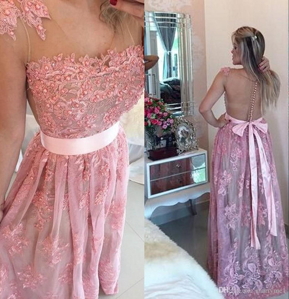 elagant peach colored prom dresses lace evening dresses pearls with sash party dresses sheer neck plus size