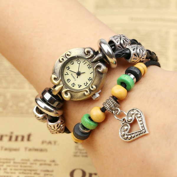 Europe and the United States trend, retro fashion, alloy . genuine leather. bracelet table, original design, limited edition *W01341