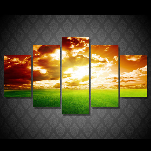 5 Pcs/Set Framed HD Printed Sunset Nature Landscape Sky Picture Wall Art Canvas Print Decor Poster Canvas Oil Painting