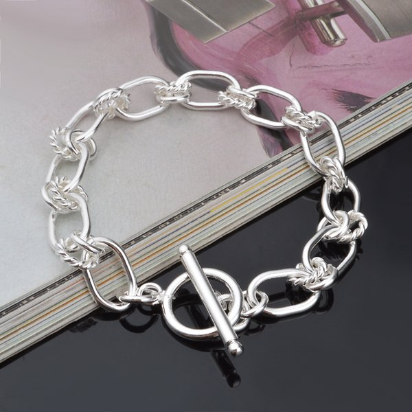 Hot 925 sterling silver chain bracelet 9MM X21CM cool street style fashion jewelry Christmas gifts low price free shipping