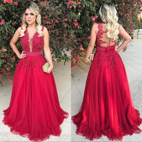 Arabic Style Red Lace Evening Dresses Long V Neck Appliques Pearls Sheer Illusion Bodice Plus Size Formal Evening Gowns Cheap Party Dress