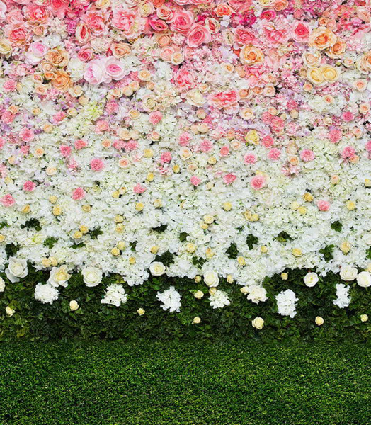best selling Digital Printed Pink White Flowers Wall Backdrop for Wedding Photography Spring Roses Blossoms Baby Kids Floral Background Green Grass Floor