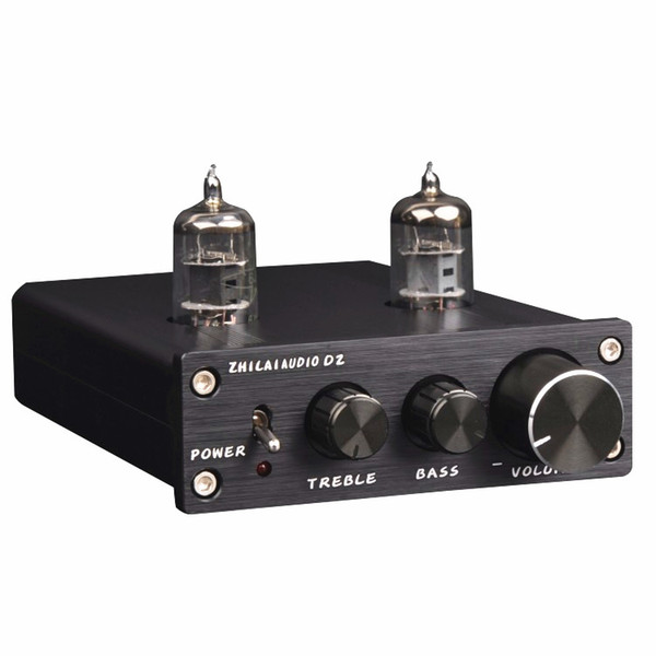 Freeshipping D2 HIFI Tube Preamp 6J1 Válvula Preamplificador de Audio Dual Channel Treble Bass con Adaptador de Potencia Silver Black Hot Sale