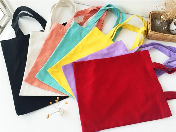 10Pcs/lot 2017 New Arrival Candy blank DIY Women Shopping Bag cotton Canvas Drawstring Bag storage bag shoe case Outdoor