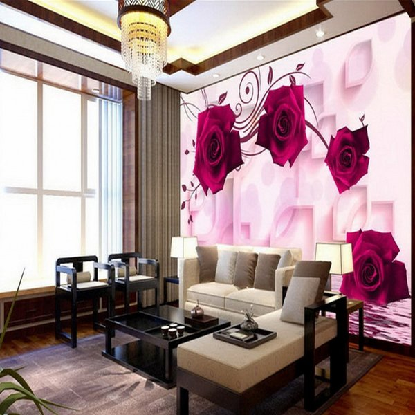Living Room 3d Rose Texture Tv Backdrop Picture Theme Restaurant ...