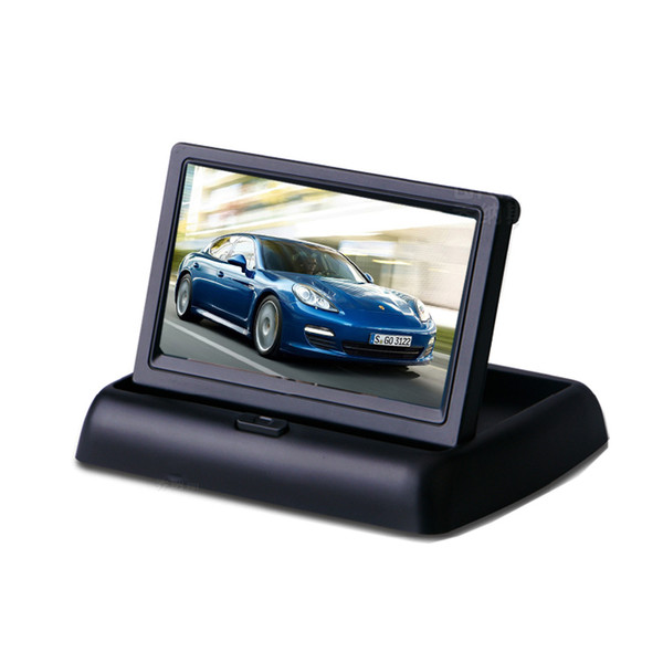 4.3 inch fold tft lcd screen car monitor pz704 2 way video input dc12v automatically display when reversing ems