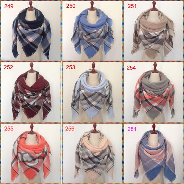 200 couleurs hiver nouvelle écharpe tartan couverture écossais écharpe 140x140cm nouveau concepteur acrylique unisexe châles foulards femmes grande taille pashmina