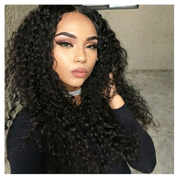 Kinky Curly Full Lace Human Hair Wigs Pre Plucked Natural hairline 10-26 Inches Brazilian Virgin Hair Wig Bleached Knots