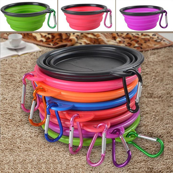best selling Silicone Folding Dog Feeding Bowl Collapsible Cats Water Dish Cat Portable Feeder Puppy Travel Bowls 8 Colors F201784
