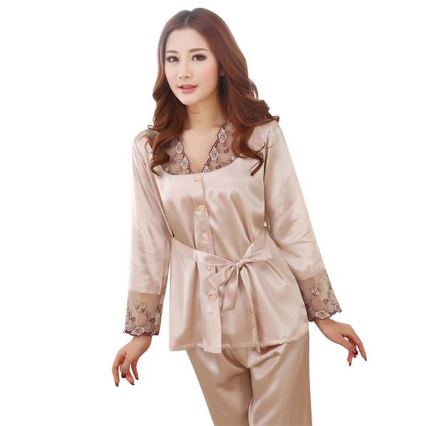 nuevo concepto a3144 8acf6 Compre G34 Primavera Otoño Mujeres Conjuntos De Pijamas De Seda Ropa De  Dormir Dama Camisón Mujer Ropa Para El Hogar Más Tamaño 3XL Caliente A  $15.31 ...