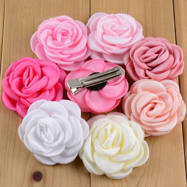 "Various Colors Baby Girls Hair Clips 2 ""Satin Rose Flower Hairclip Children Flower Hairpins Cute Headwear 10pcs /Pack"