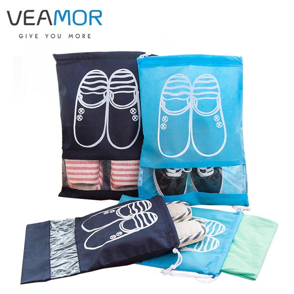 Wholesale- VEAMOR Travel Shoes Bags for Girls Women Dustproof Cover Shoes Bags Non-Woven Travel Beam Port Shoes Storage Bags 8pcs WB000
