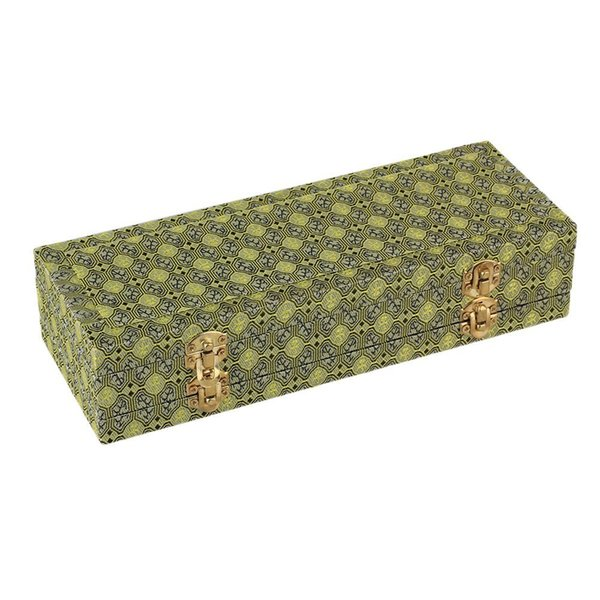 Double-Deck Satin Cover Oboe Reed Case Wooden Box for 46 Reeds Hold Protector