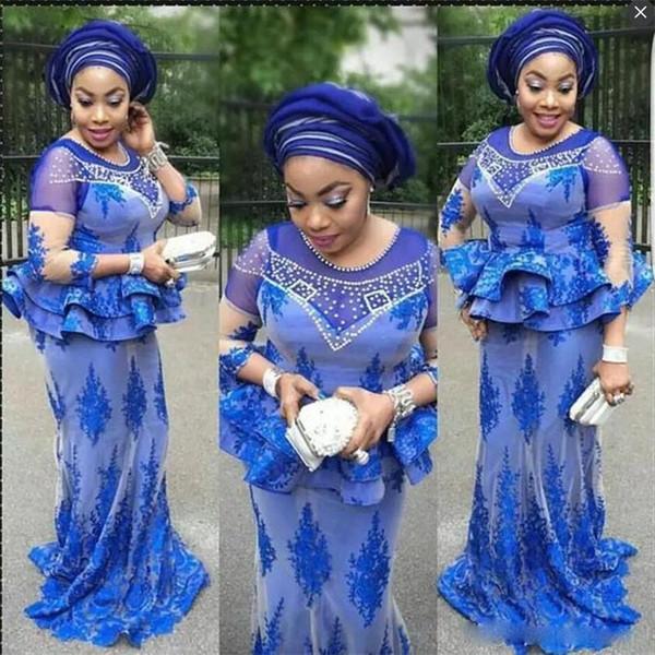 African Plus Size Abendkleider Meerjungfrau Royal Blue Jewel Peplum Perlen Long Sleeves Abendkleid Lange Aso Ebi Frauen Formelle Party Kleider