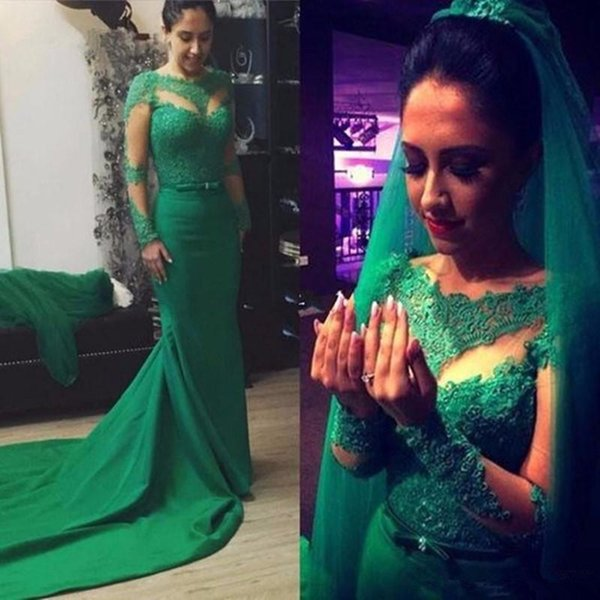 Long Sleeve Mermaid Evening Dresses 2017 Sheer Special Occasion Emerald Green Lace Appliques Formal Prom Gown
