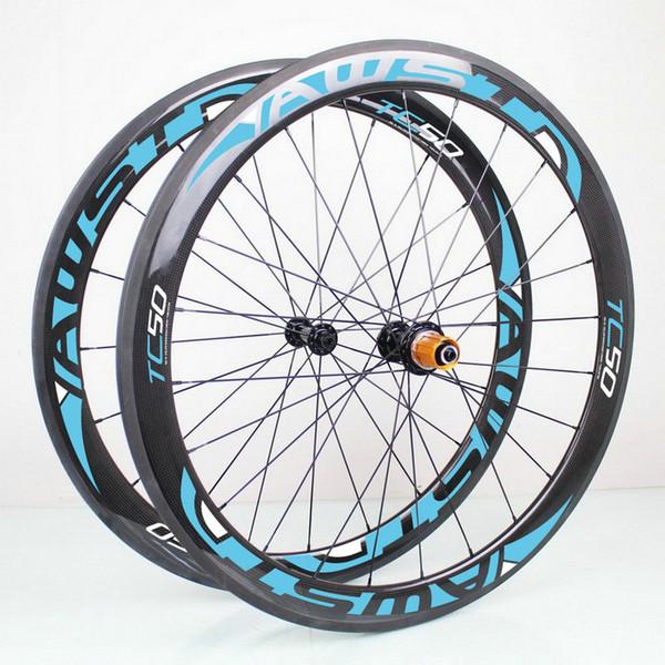 AWST blue 50mm glossy 3k 700C clincher full carbon bike wheels cheap bicycle carbon wheels set 23mm width basalt surface wheels