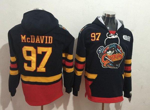 Nuevos Oilers Hoodies Jerseys # 97 Mcdavid Hockey Hoody Jerseys Color negro cosido tamaño S-XXXL Mix ordenar todos Jerseys