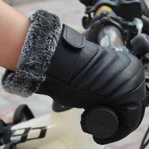 Wholesale- 2017 Hot Sale Men Winter PU Leather Warm Gloves Anti Slip Outdoor Driving Gloves Touch Screen Wrist Gloves Mitten Luvas Black