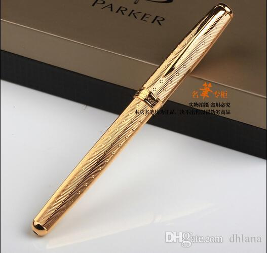 Free Shipping Parker Sonnet Metal Gold Roller Ball Pen School Office Supplies Medium Point 0.5 mm Refill Ballpoint Signature Pen Stationery