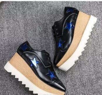 new free shipping Stella Mccartney women Shoes Silver Stars Leather Hot in UK Wedge Platform Elyse Nina Platform