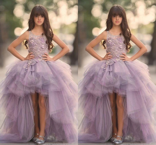 best selling Lavender High Low Girls Pageant Gowns Lace Applique Sleeveless Flower Girl Dresses For Wedding Purple Tulle Puffy Kids Communion Dress