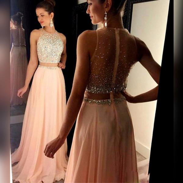 Sparkle Prom Dresses for Girls Crystal O-Neck See Through Back and Waist BackBlush Long Graduation Dress Rhinestone Party Gowns
