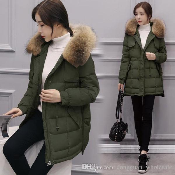 Schöne Frauen Koreanische Stil Winterjacke Pelzkragen Jacke Dünne Warme Daunenjacke Großhandel Größe Ente Von Große Kapuzenmantel Weiße Zz214 IYfgbv76y