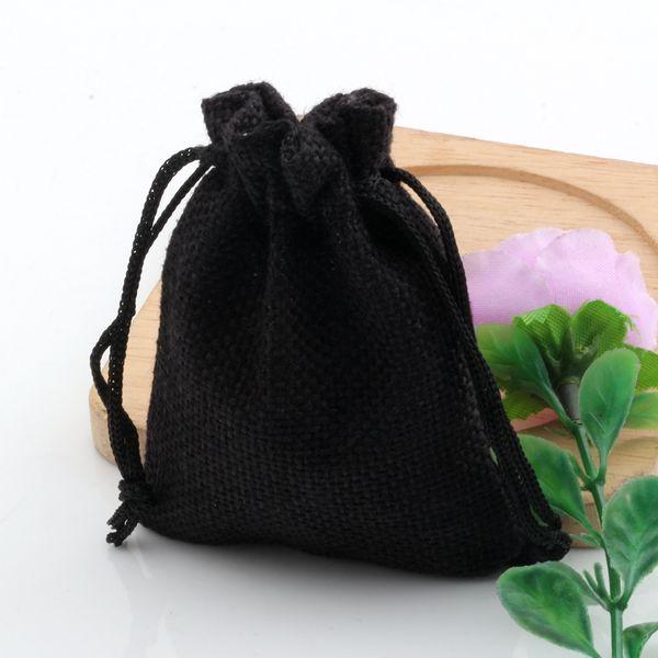 Quente! 50 pcs Tecido De Linho preto Sacos De Cordão de Doces de Presente Da Jóia Bolsas de Serapilheira Presente sacos de Juta 7x9 cm