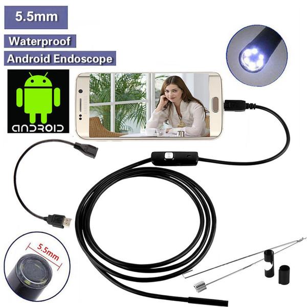 3.5M 2M 1M 6FT 10FT Endoscopio Endoscopio USB Android Cámara de inspección HD 6 LED 7mm Lente 720P Impermeable Coche Endoscopio Tube mini