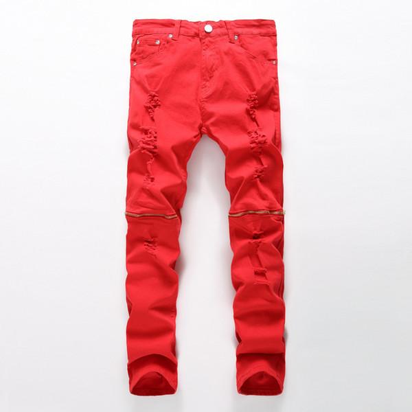 Wholesale-Newest men ripped jeans red black white zipper hip hop jeans mens punk rock distressed biker jeans elastic denim pants plus size