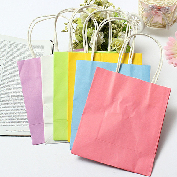 1 PCS Kraft paper Gift bag with handle/ 15X8X21cm /wedding birthday party gift package bags / Christmas new year Wholesale