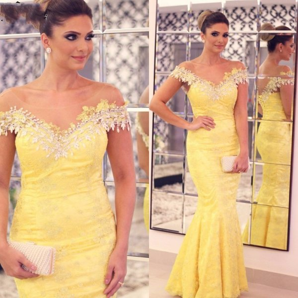 Sparkly Yellow Lace Evening Gowns Illusion Neck Off the Shoulder Plus Size Evening Dressess Crystals Corset Back Mermaid Prom Dress