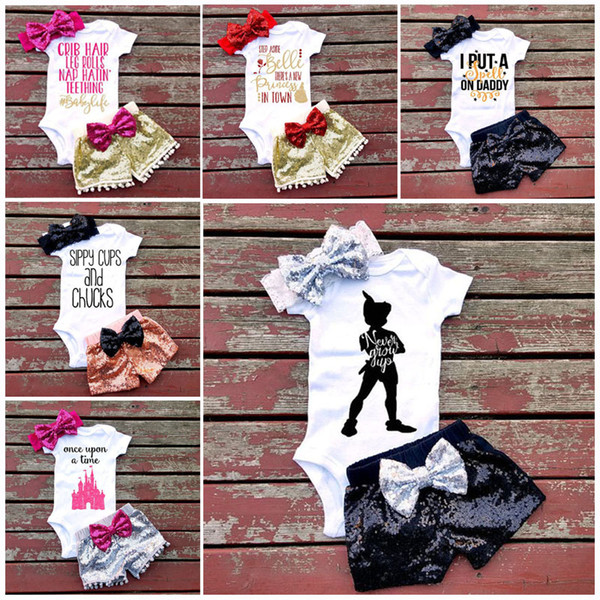 best selling 7 Style Baby girl INS letters rompers suit Children Short sleeve triangle rompers+paillette shorts+bowknot Hair band 3pcs sets clothes B001