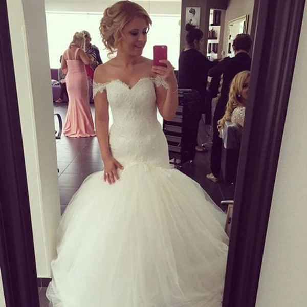 Fashion Off the Shoulder Wedding Dress Vestido De Novia Sweetheart Lace Appliques Top Puffy Tulle Fit and Flare Mermaid Bridal Gowns