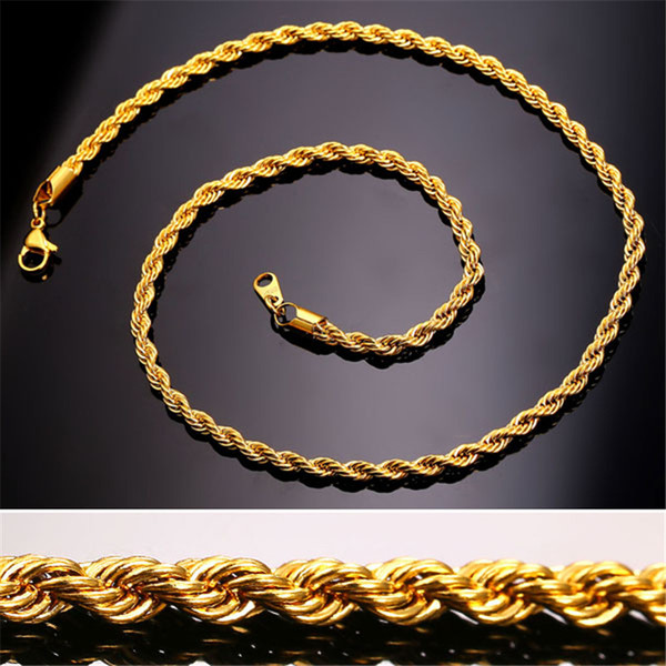Collar de cadena de cuerda de acero inoxidable 18K chapado en oro real para hombre Cadenas de oro regalo de joyería de moda