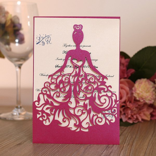 Beautiful Laser Cut Girl Dress Pretty Bride Design Wedding Invitation Cards Hollow out Elegant Bride Invitations Set Bat Mitzvah Decoration