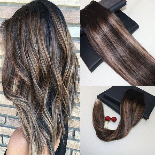 Balayage color # 2 desvaneciéndose a # 27 Extensiones de trama del cabello Omber 100% Real Remy Armadura brasileña del cabello humano Slik Recta 8a Grado Tejido del cabello