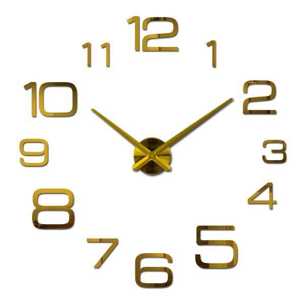 Atacado-2016 novo relógio de parede de acrílico relógio de quartzo sala de estar moderna 3d espelho adesivos reloj pared horloge grandes relógios decorativos
