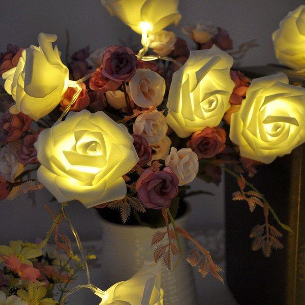 20 LED Rose Flower Fairy Lichterketten Hochzeit Garten Weihnachten Party Hot^/&